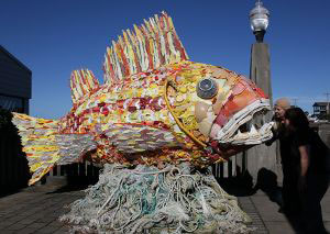 fish sclpture made of ocean salvage
