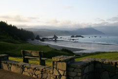 Photo vew of Port Orford Bay from Battle Rock park