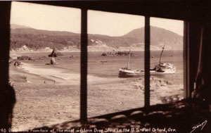 Photo old - looking out window to Port Orford Bay