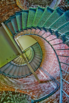 Photo spiral staircase in lighthouse
